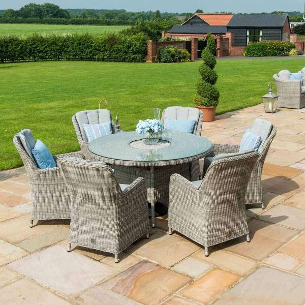 Oxford Venice 6 Seater Rattan Garden Dining Furniture Set