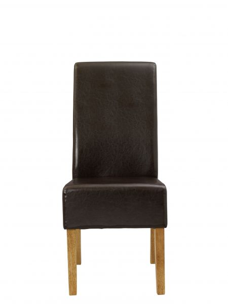 LPD Padstow Faux Leather Dining Chairs Pair - Brown, Cream or Red