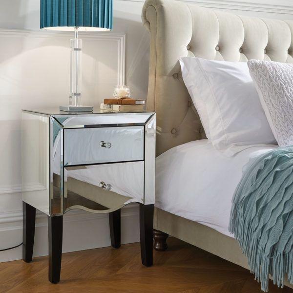 Birlea Palermo Mirrored 2-Drawer Bedside Table