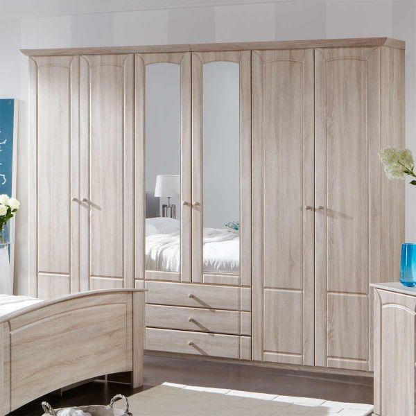 Palma 6-Door 3-Drawer Mirrored Wardrobe - Oak