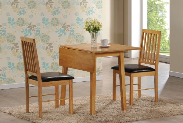 LPD Palma Drop Leaf Dining Table & 2 Chairs Set - Oak