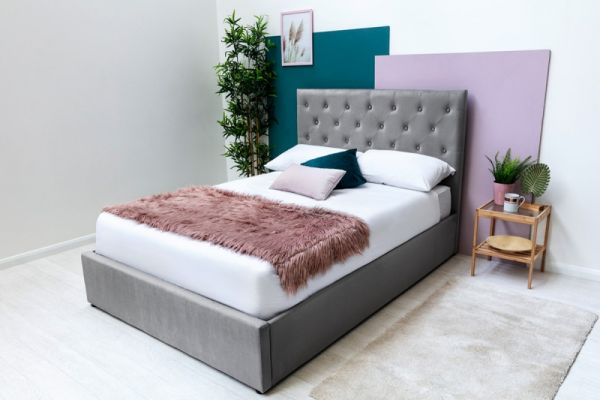 Parwich Grey Velvet Upholstered Ottoman Storage Bed Frame in 2 Sizes - 2 Colours