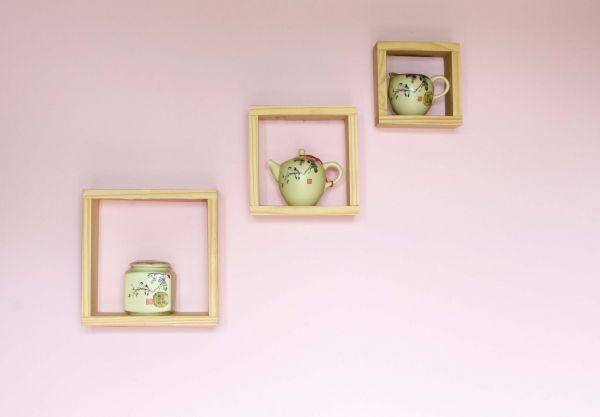 Natural Wood 3PC Floating Cube Display Shelf