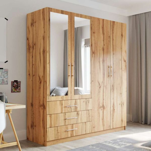 Peking 4 Door Wardrobe with Mirror and Drawers - Oak Wotan