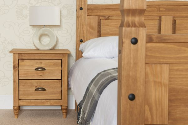 Birlea Pembroke 2-Drawer Bedside Table - Pine