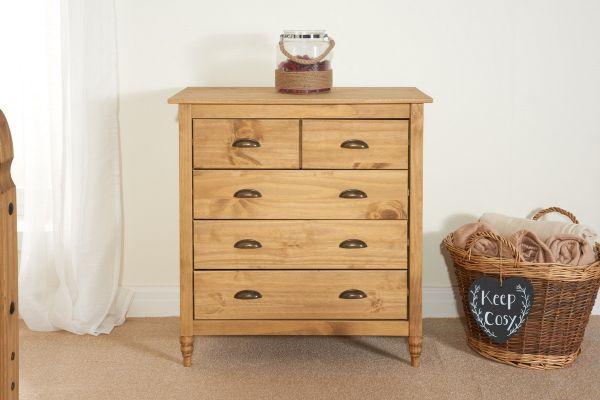 Birlea Pembroke 3+2 Drawer Storage Chest - Pine