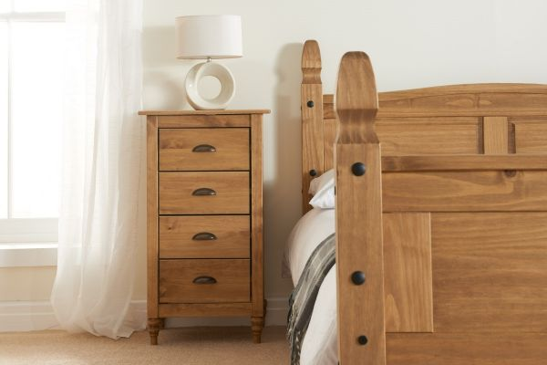 Birlea Pembroke 4-Drawer Narrow Storage Chest - Pine