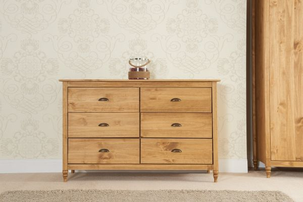 Birlea Pembroke 6-Drawer Wide Storage Chest - Pine
