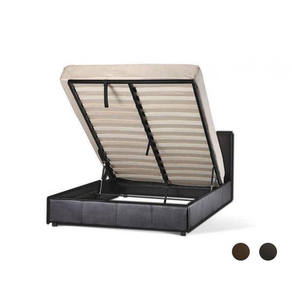 LPD Prado Faux Leather Ottoman Bed - Black or Brown - 4 Sizes