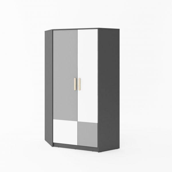 Polo Corner 2-Door Wardrobe - Grey & White