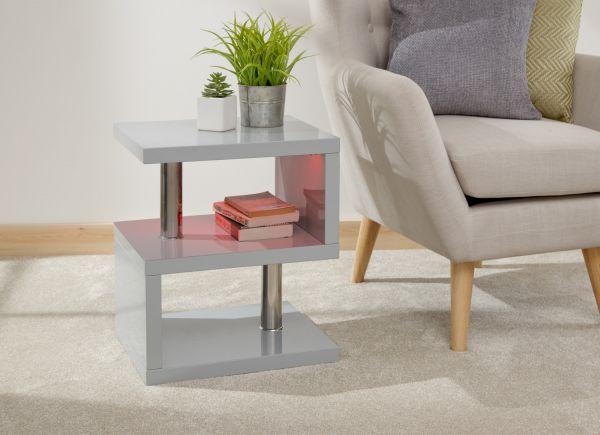 Polar High Gloss LED Side Table - White or Grey