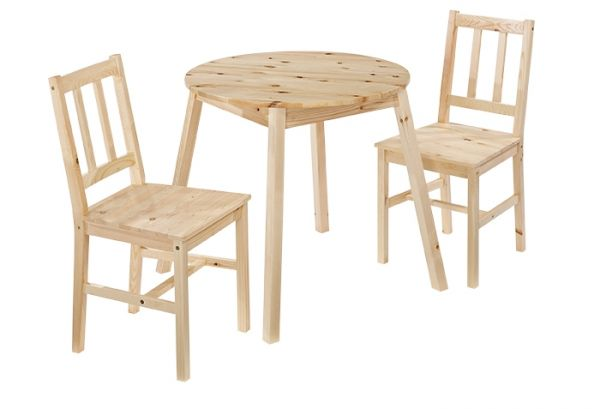 LPD Prague Dining Table & 2 Chairs Set - Knotty Pine