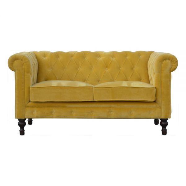 Velvet Chesterfield 2 Seater Sofa - Mustard