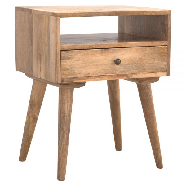 Modern Solid Wood Bedside Table with Open Slot
