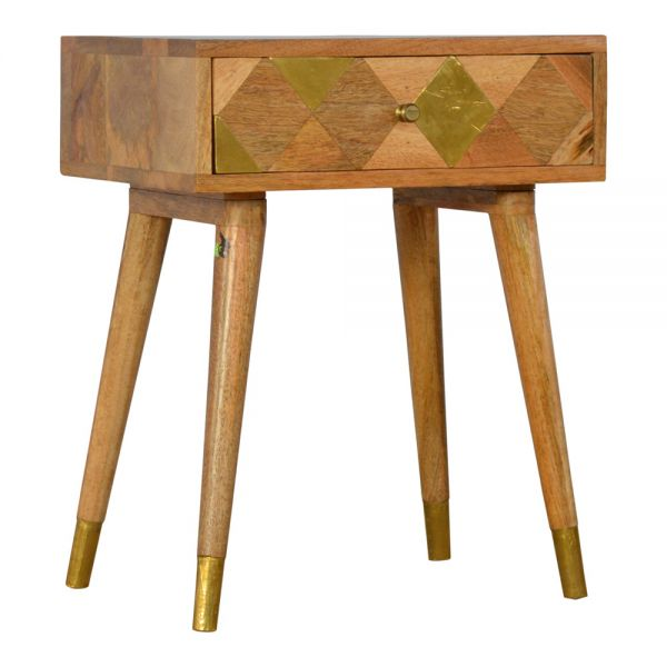 Gold Brass Inlay Bedside Table - Oak-ish
