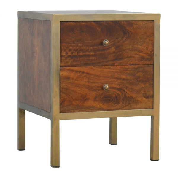 Gold Iron Frame Bedside Table