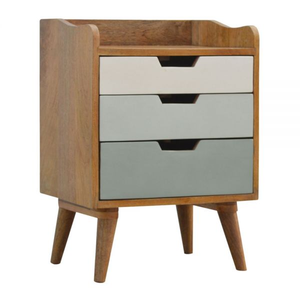 Green and White Gradient Bedside Table