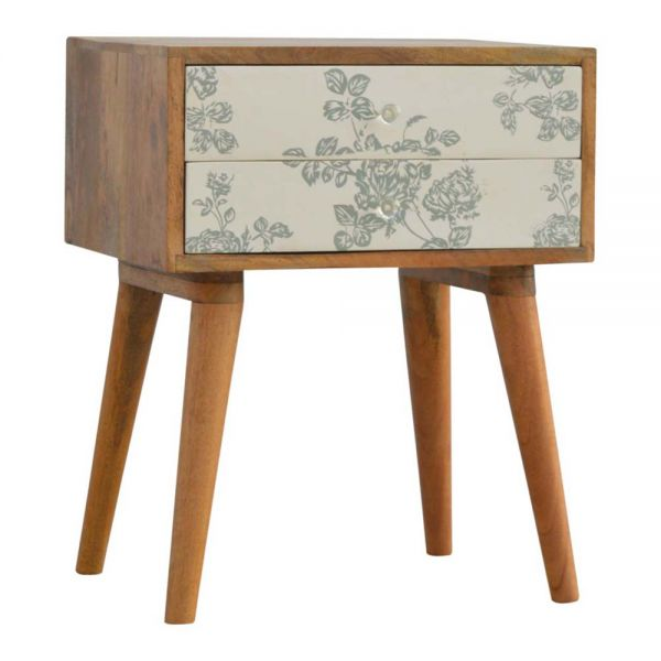 Green Floral Screen Printed Bedside Table