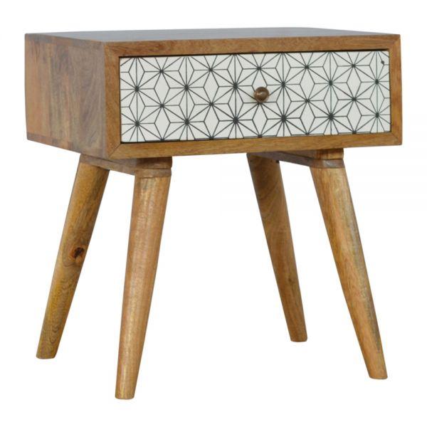Geometric Screen Printed Bedside Table