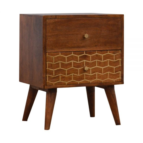 Gold Art Pattern Bedside Table with 2 Drawers