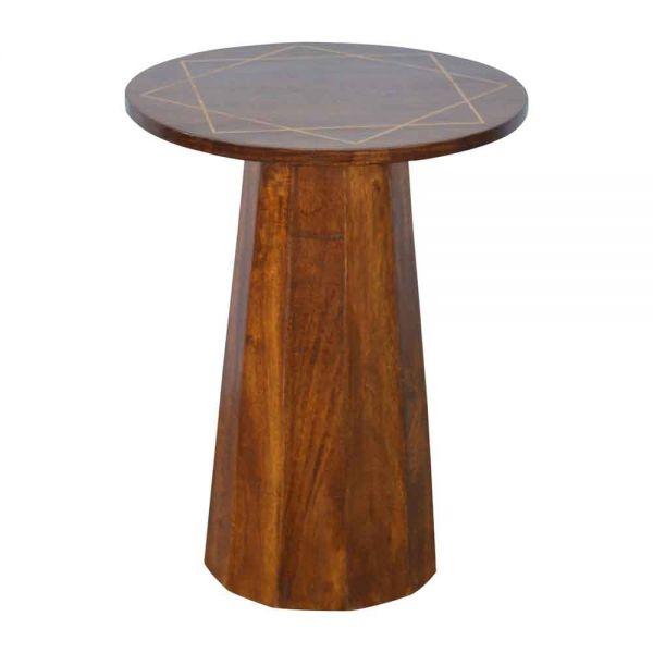 Geometric Brass Inlay End Table
