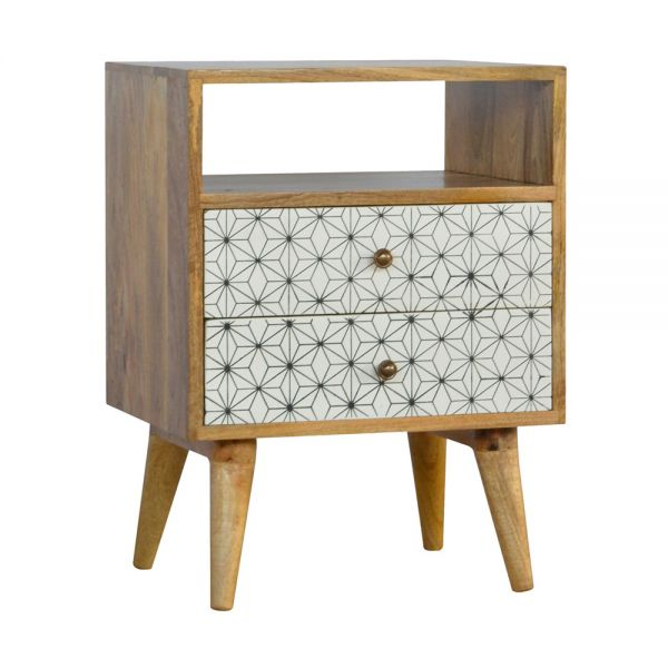 Geometric Screen Printed Bedside Table with Open Slot