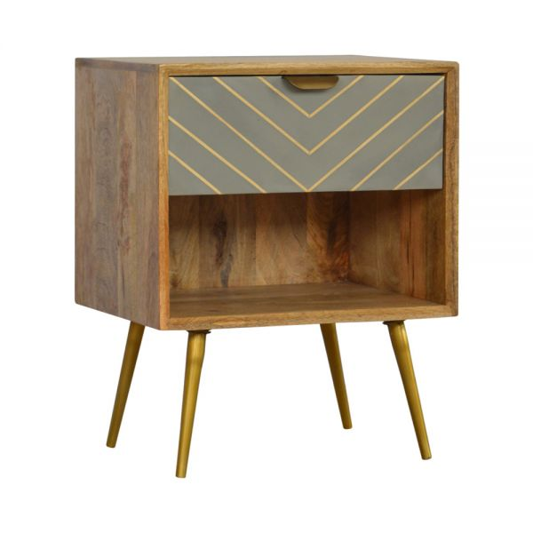Sleek Cement Brass Inlay Bedside Table with Open Slot