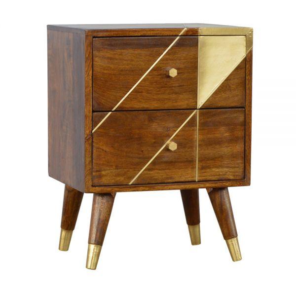 Gold Geometric Chestnut Bedside Table
