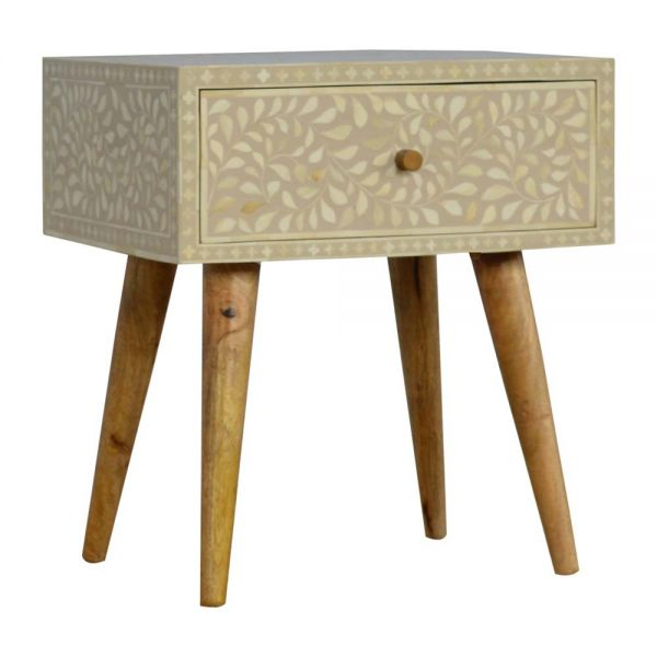 Floral Bone Inlay Bedside Table