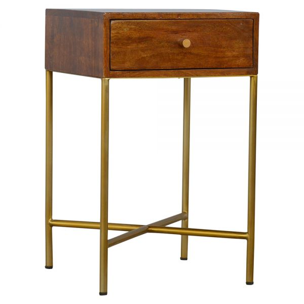 Chestnut End Table with Gold Base