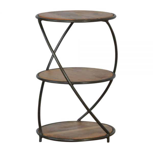 Industrial 3 Tier Solid Wood End Table