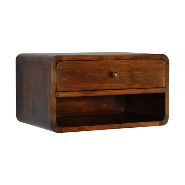 Curved Chestnut Wall Mounted Bedside Table with Open Slot