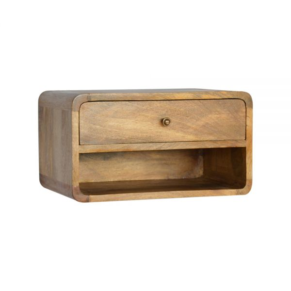 Curved Oak-ish Wall Mounted Bedside Table with Open Slot