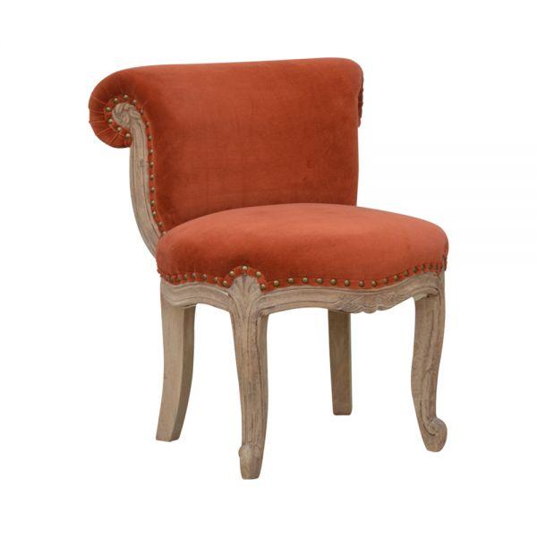 Brick Red Velvet Studded Chair