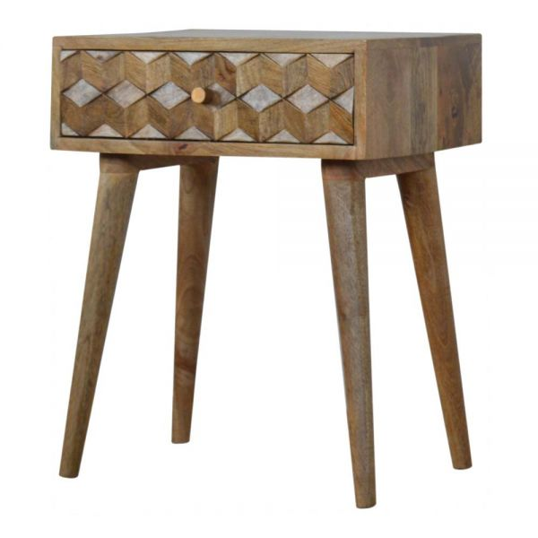 Cube Carved Bedside Table