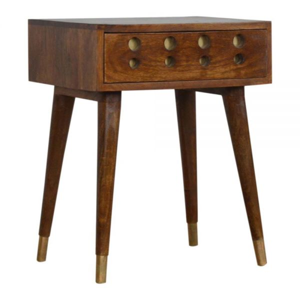 Chestnut Brass Inlay Cut Out Bedside Table