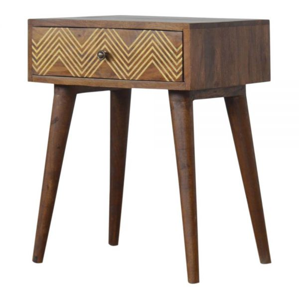 Brass Inlay Chevron Bedside Table
