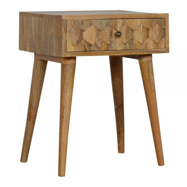 Pineapple Carved Oak-ish Bedside Table
