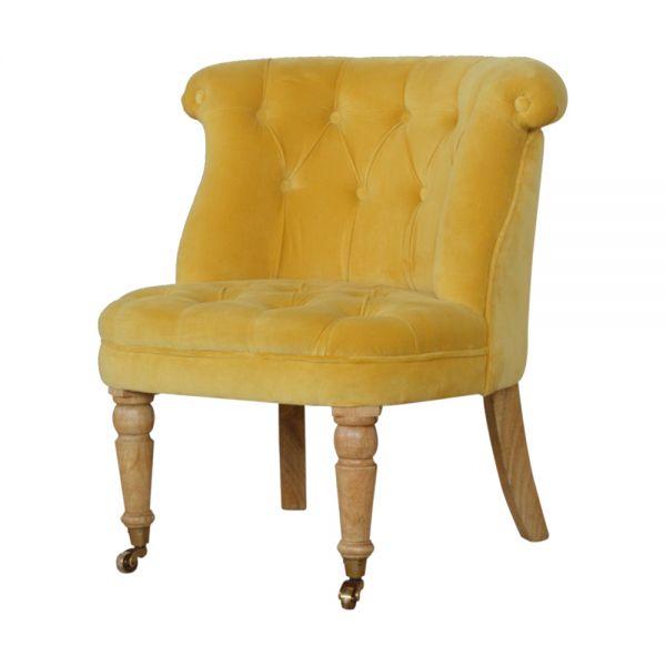 Velvet Accent Chair - Mustard