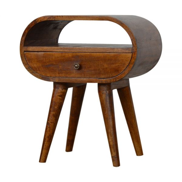 Chestnut Circular Bedside Table with Open Slot