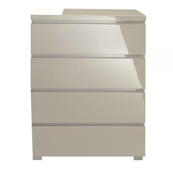 LPD Puro 4 Drawer High Gloss Storage Chest - Stone