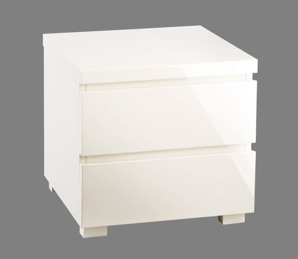 LPD Puro 2 Drawer High Gloss Bedside Table - Cream