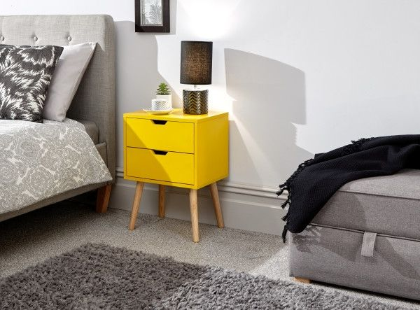 Nyborg 2-Drawer Bedside Table - Dark Grey, Light Grey, White or Yellow