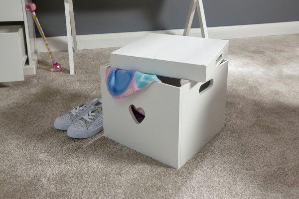 Love Hearts Storage Stool Box - White