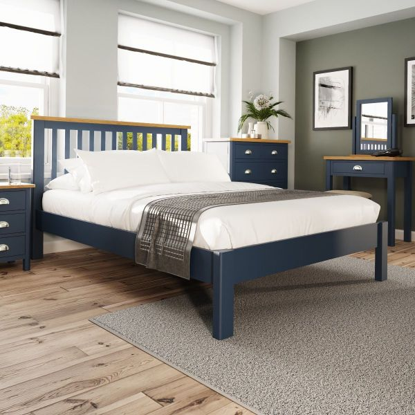 Alcia 4FT6 Double Bed Frame - Blue