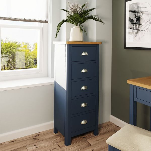 Alcia 5 Drawer Narrow Chest Of Drawers - Blue