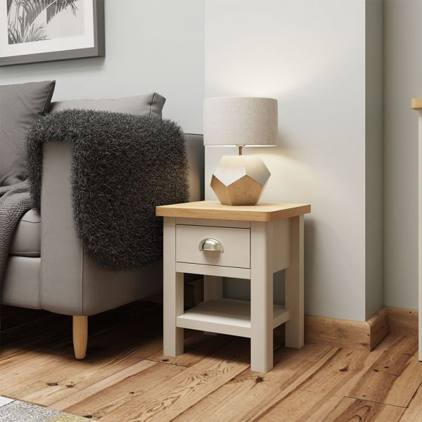 Ether 1 Drawer Lamp Table - Dove Grey