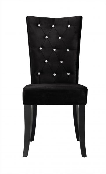 LPD Radiance Velvet Diamante Dining Chairs Pair - Black, Silver or Purple