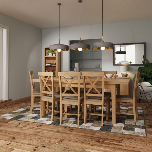 Herman 1.6M Extending Dining Table- Rustic Oak