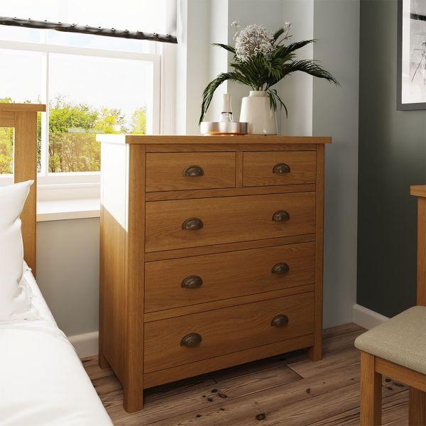 Cardano 2 Over 3 Chest Of Drawers - Rustic Oak